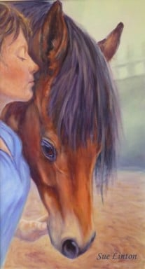 A portrait of a jockey and her horse