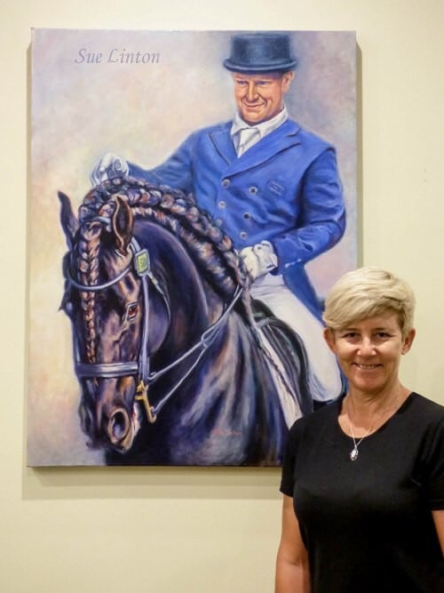 A large oIl horse and rider portrait created from photos