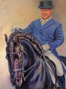 A large Oil portrait of Jeremy Janjic & Django of Cacheral