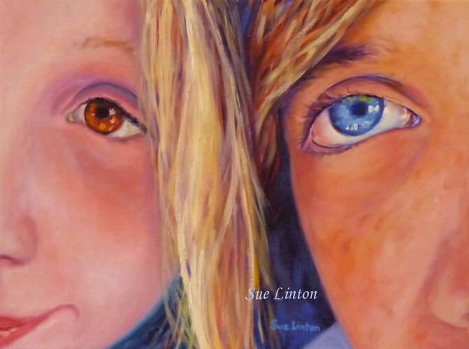 A fun selfie of 2 children immortalised in an Oil painting