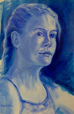 the early blue underpainted stages of my practise portrait- Chelsea in blue