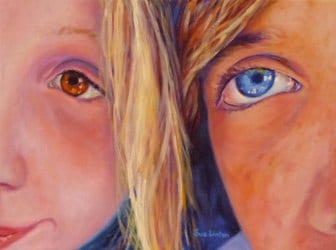 A selfie of 2 children immortalised in an Oil painting
