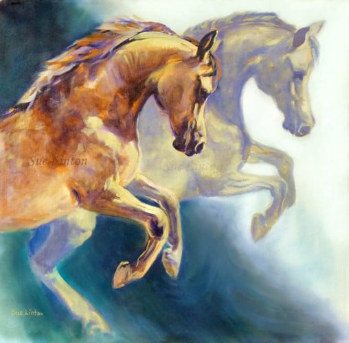 A gorgeous Oil painting of 2 plunging arab horses