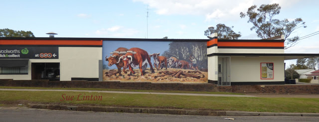 The mural on the building