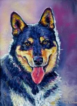 a pet portrait painting of a dog