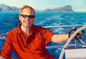 An oil portrait of a man sailing his yacht
