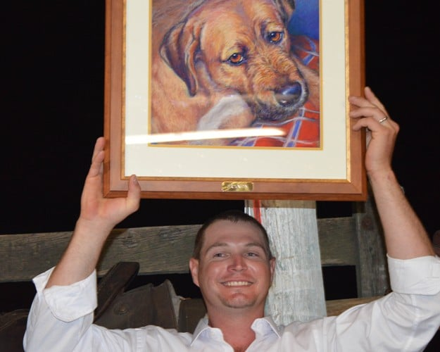 James is thrilled with his dog pet portrait painted from a photo
