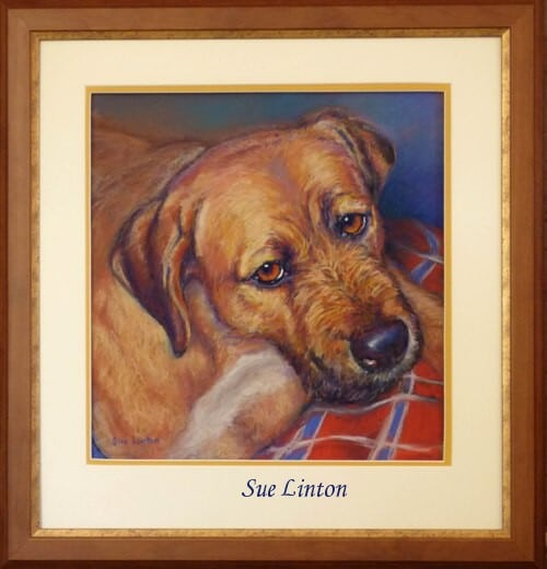 The Custom framed pet portrait of a dog painted from a photo