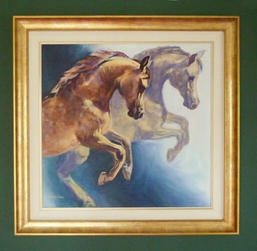 A Stunning framed Oil portrait painting os an Arab horse Aphrodites