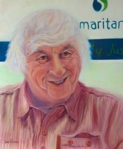 An Oil portrait of Cec Shevels retired CEO of the Samaritans