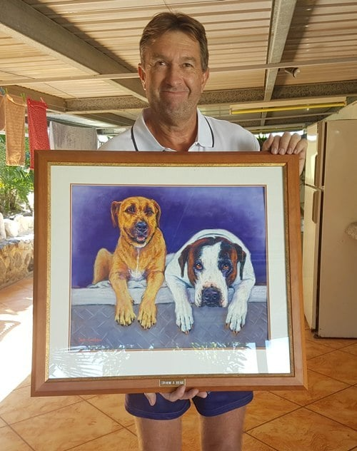 Rob is thrilled with his memorial gift pet portrait of his 2 hunting dogs painted from a photo