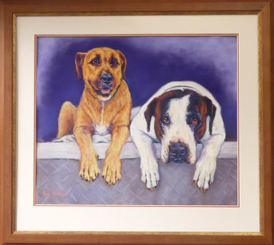 Custom framed petportrait of 2 dogs painted from a photo