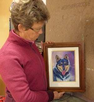 A colourful pet portrait painted from a photo