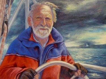 Prize winning portrait of a sailor coming home after a hard day