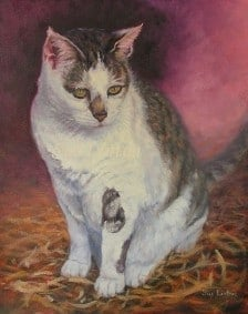 A portrait of a cat in Oil from a photo