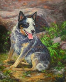 A memorial portrait of a cattledog placed in a setting of his backyard.