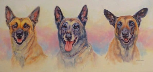 A triple Oil dog portrait