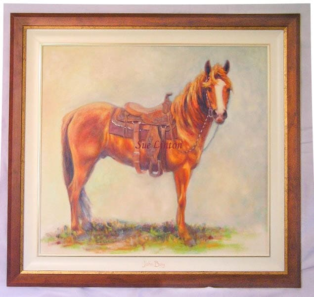 A custom framed Oil of a horse