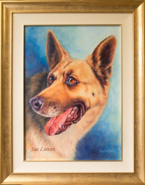 A framed petportrait created from a photo of an alsatian dog