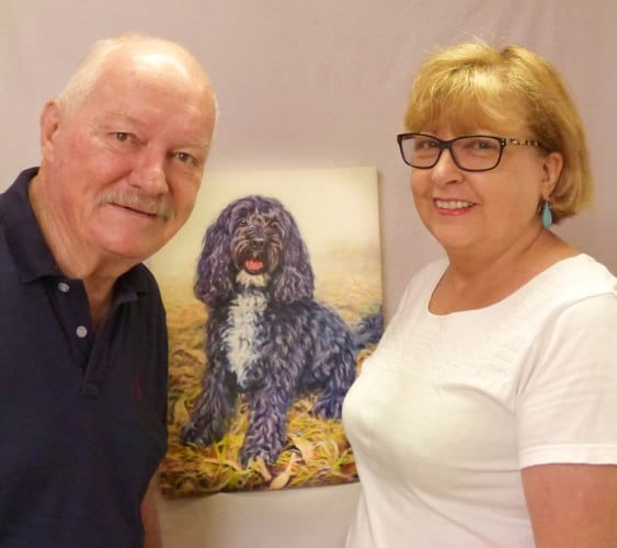 Rob and kate with the portrait I created of Monty.