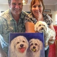 A happy family with their dog portrait painted from a photo