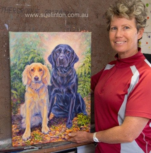 Sue with a larger Oil portrait of 2 dogs