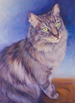 A pet portrait of a cat painted from a photo