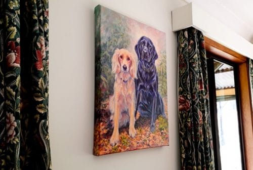 The gallery wrap portrait is continued around the edges and looks great hung unframed!