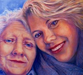 A fun portrait of a mother and daughter painted from a selfie photograph