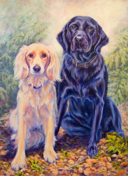 A stunning pet portrait of 2 dogs painted from a photo