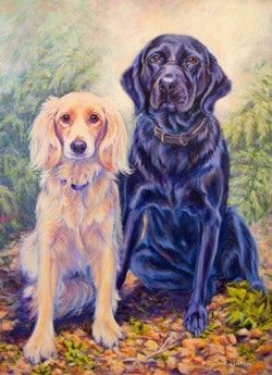 A stunning portraiut of 2 dogs painted from a photo
