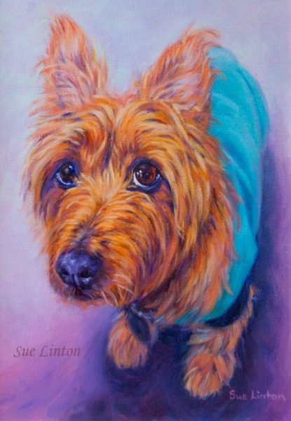 A poignant memorial portrait of a terrier