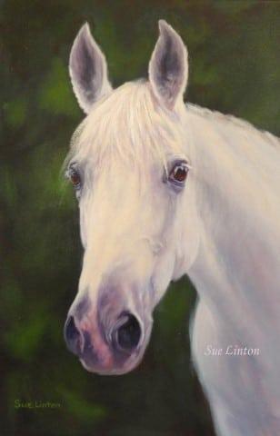 An Oil memorial portrait of a horse