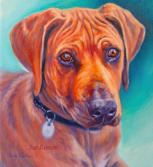 An Oil portrait of a dog painted from a photo
