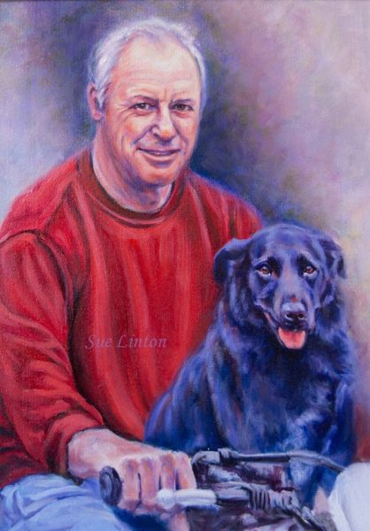 A portrait painted of a man and his dog