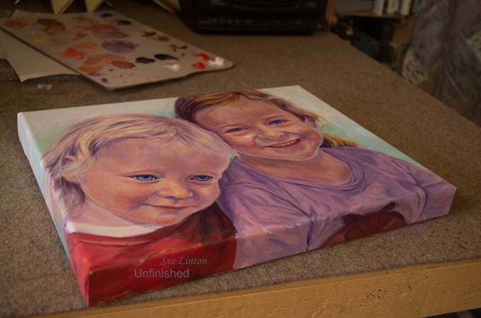 I continue the portrait around the sides for a quality finish