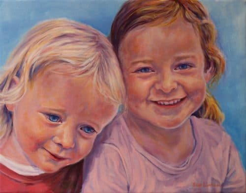 A lovely Oil portrait of two little girls