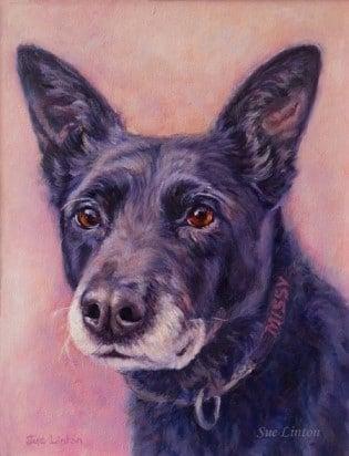 An Oil portrait of a dog