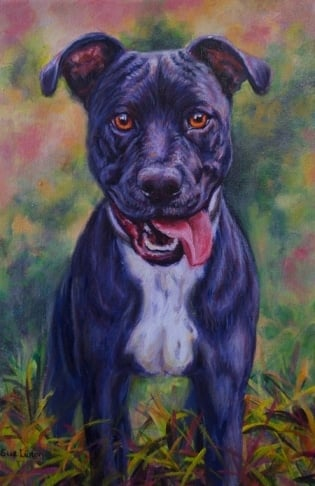 A colourful Oil portrait of a dog from a photo