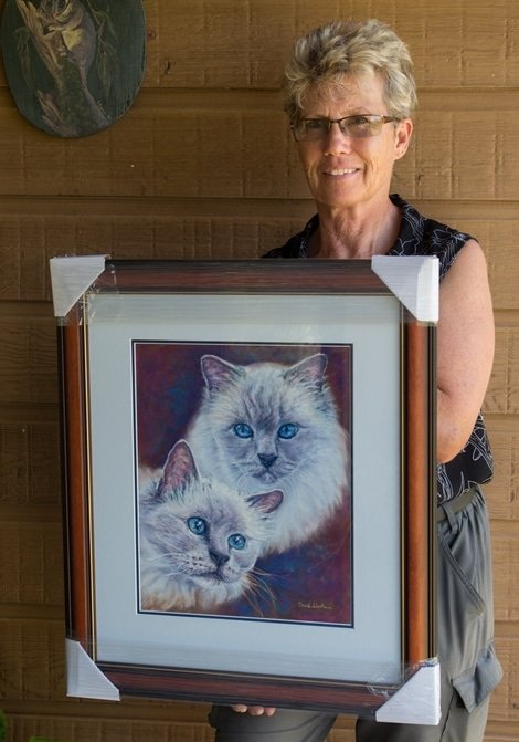 A framed Pastel pet portrait of 2 cats