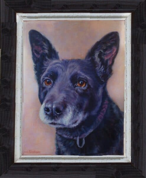 A computer mockup of a suggested frame for a dog portrait